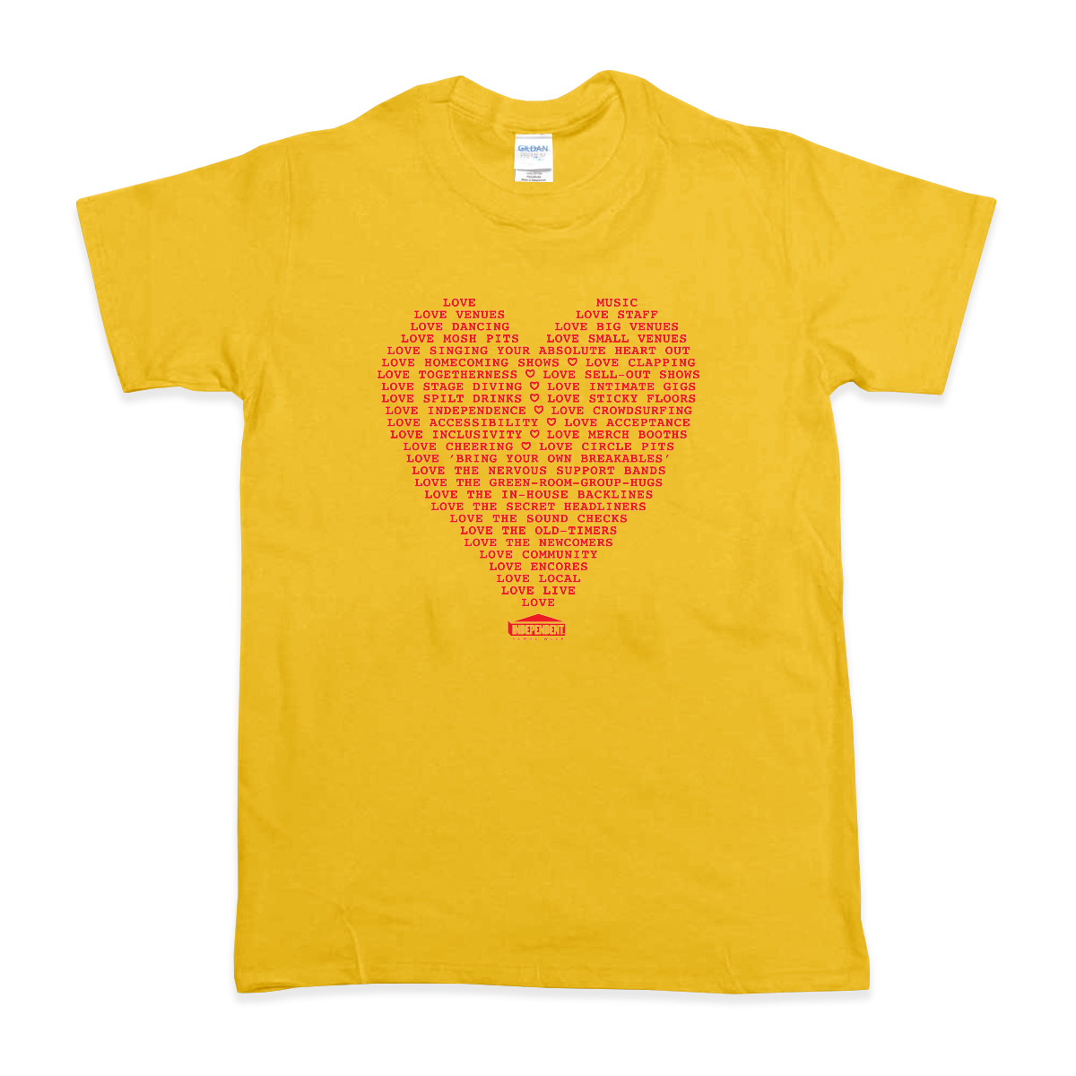 'Heart Words' T-Shirt (Gold w/ Red)