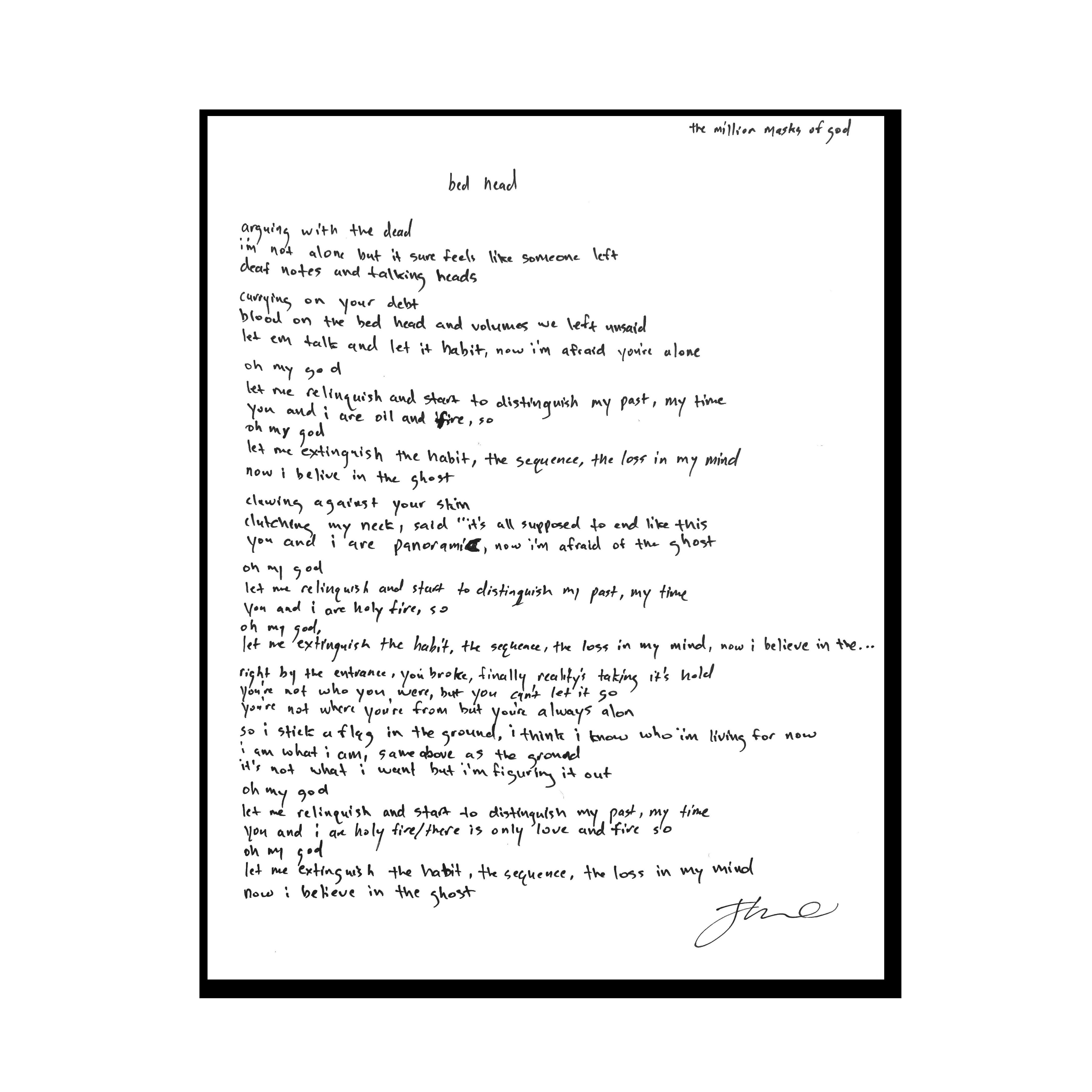 """Handwritten """"Bed Head"""" Lyric Sheet Print"""