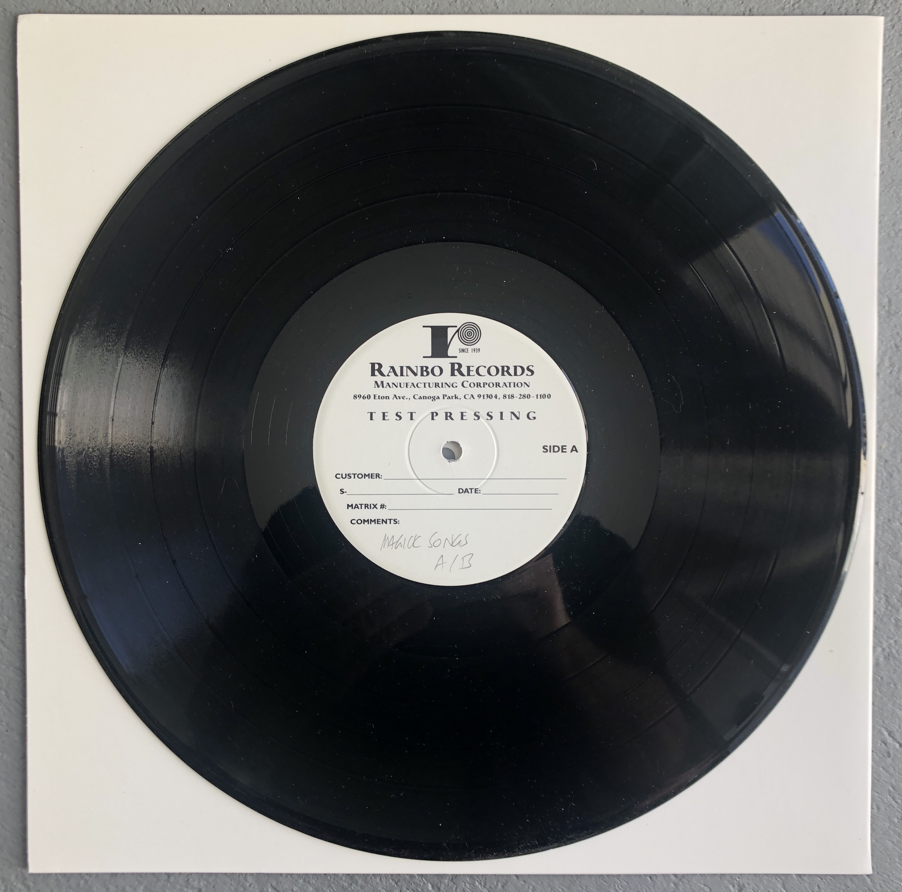 LAST OF THE TEST PRESSINGS Coming in October!