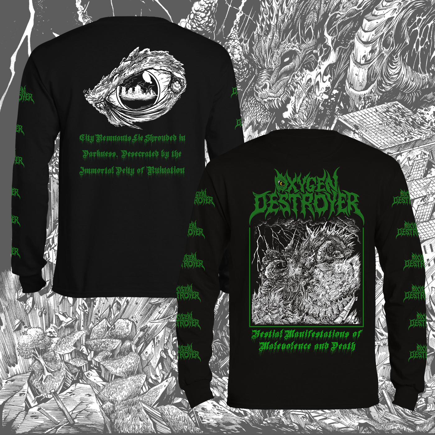 OXYGEN DESTROYER - Bestial Manifestations of Malevolence and Death Longsleeve