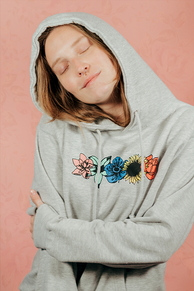 Flower Hoodie - Heather Grey
