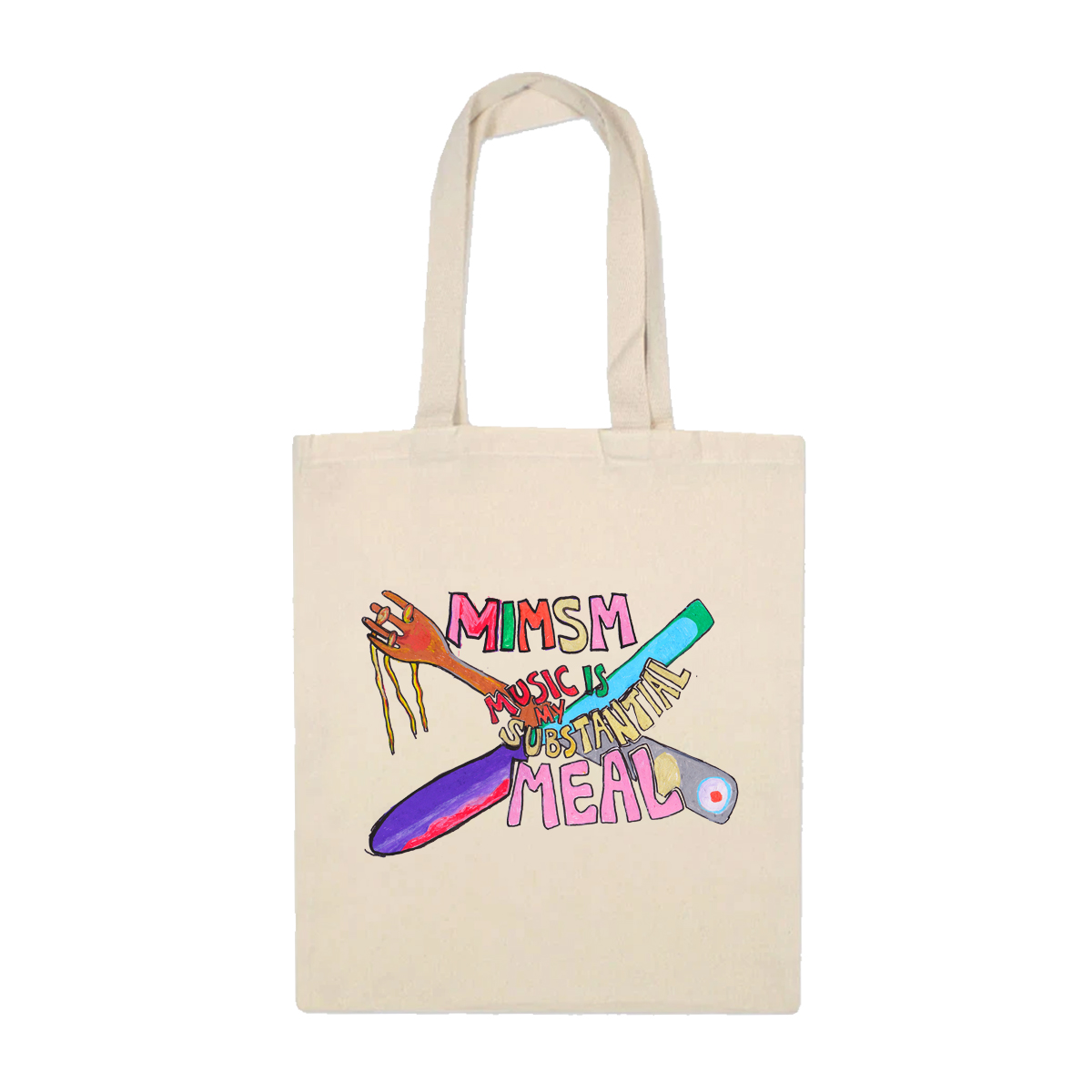 'Music Is My Substantial Meal' Tote Bag (Natural)