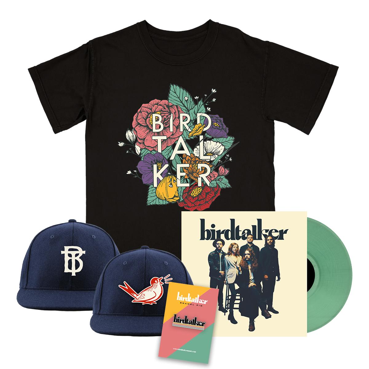 Birdtalker Vinyl, Floral Tee, Pin & Hat Bundle