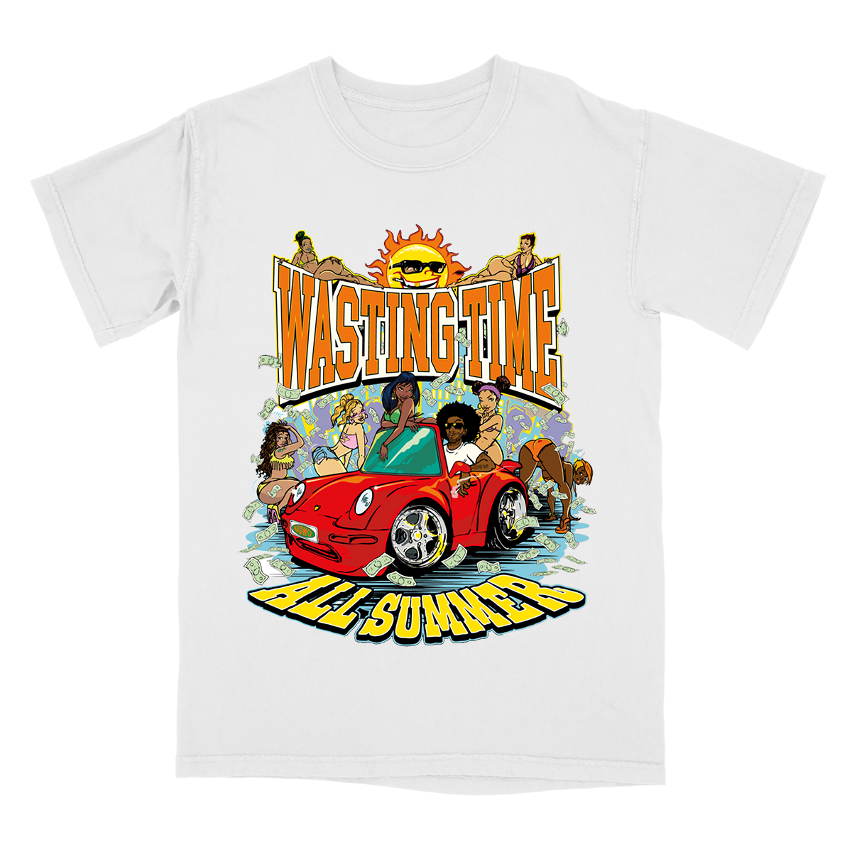 Wasting Time Car Tee - White