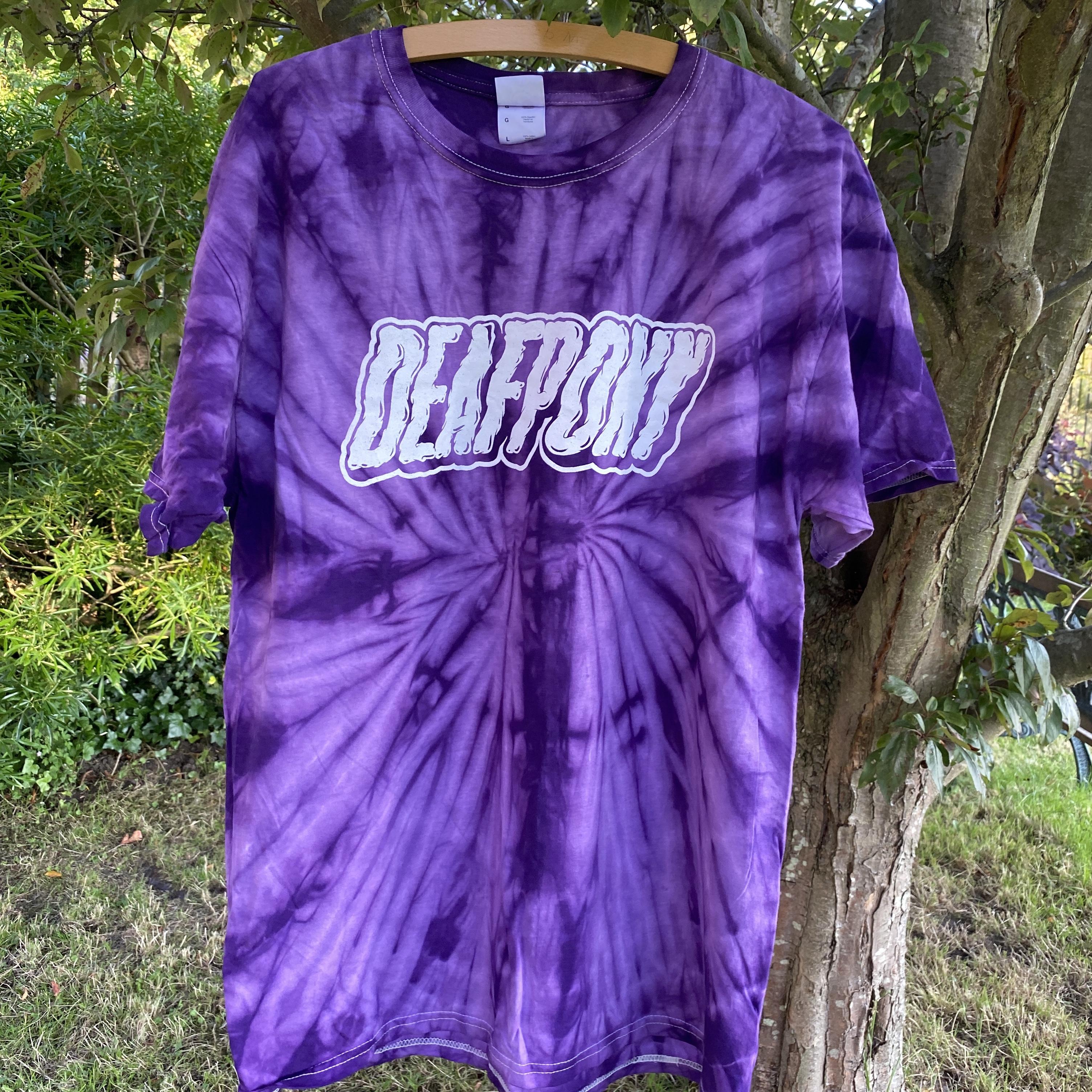 purple logo tie-dye tee