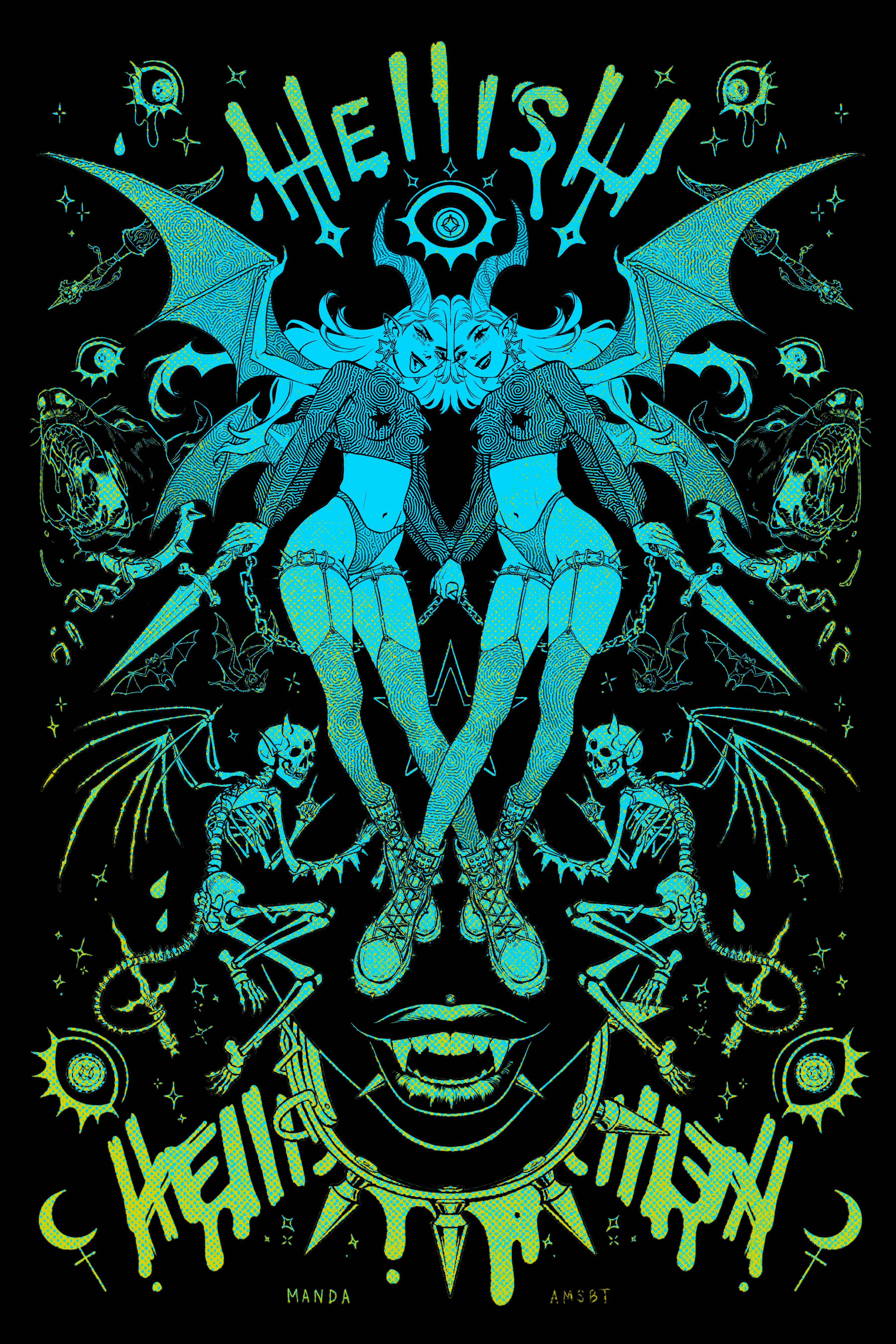 Hellish - Green Print