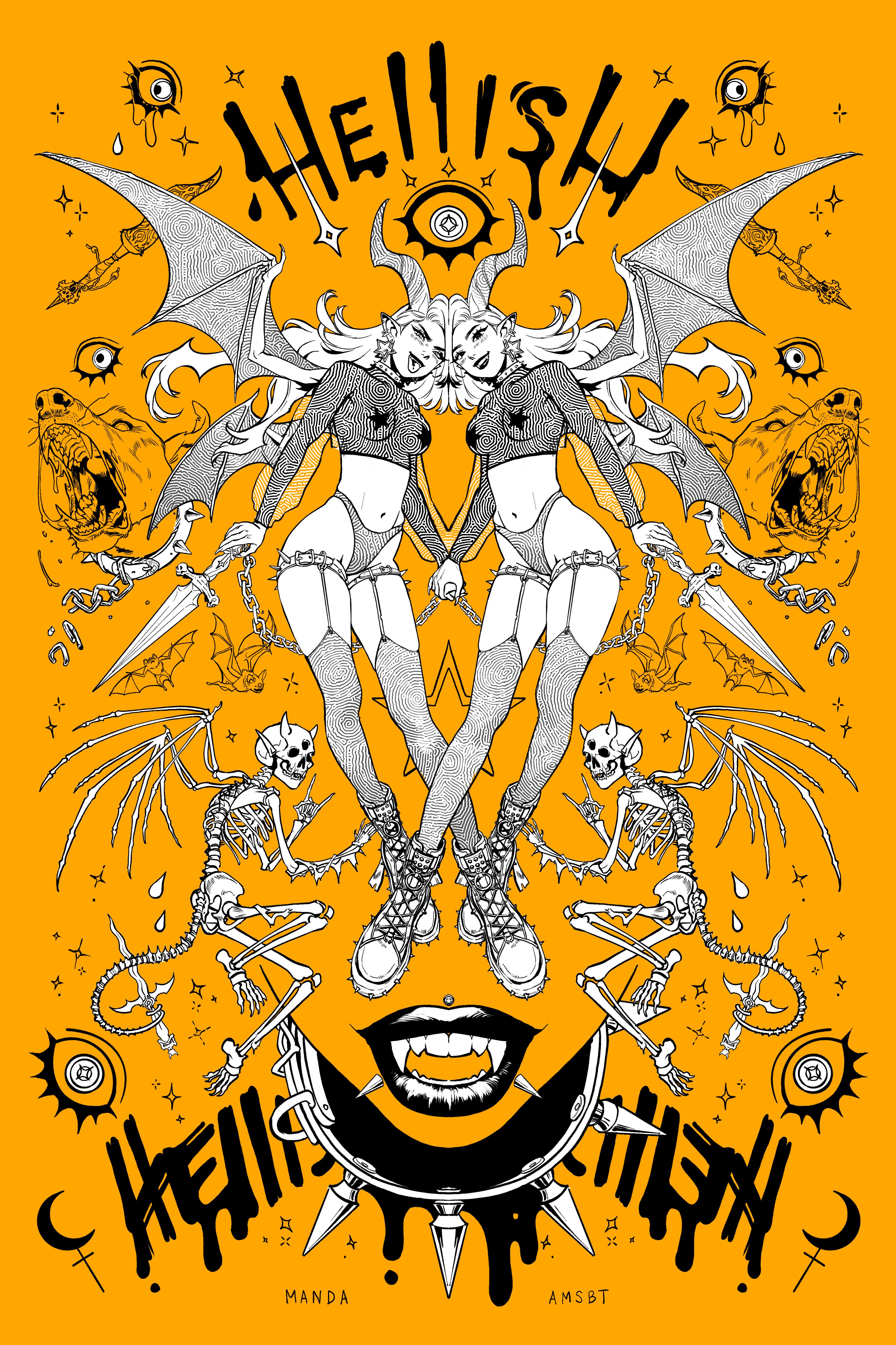 Hellish - Gold Print